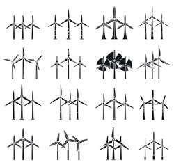 Eco wind turbine icons set. Simple set of eco wind turbine vector icons for web design on white background