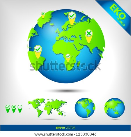 eco world globe with map pin - stock vector