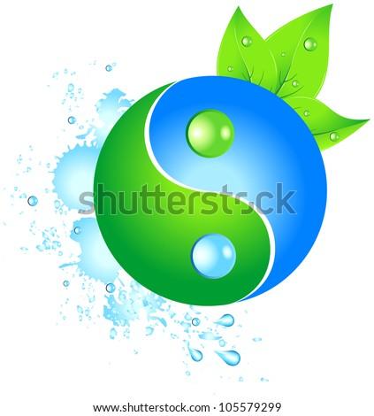 Eco yinyang. Vector ilustration - stock vector