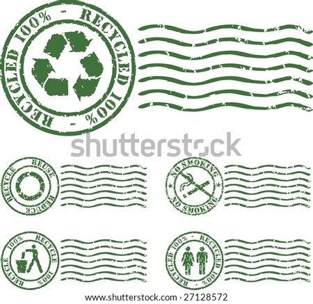 ecologic vector rubber stamp with green ink