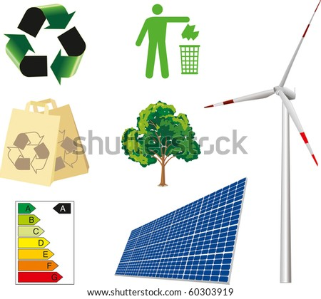 ecological and environmental icons, isolated on white background.