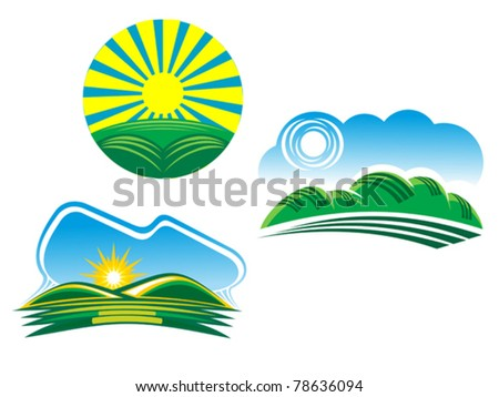 Ecological and nature symbols isolated on white, such a logo. Jpeg version also available