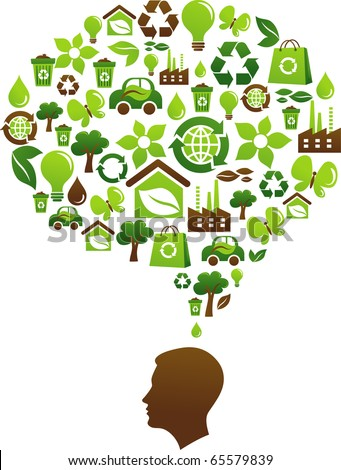 Ecological awareness concept with many environmental icons