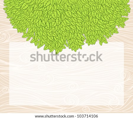 Ecological background with blank copyspace and green leaves.