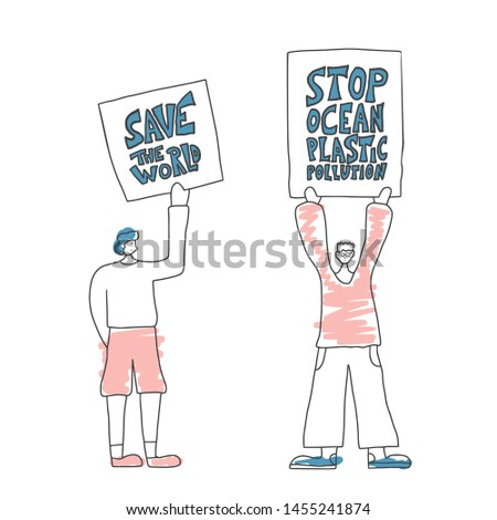 Ecological banners. Protesting people standing together with sign boards. Young persons holding placards. Human characters take part of rally, parade. Vector illustration.