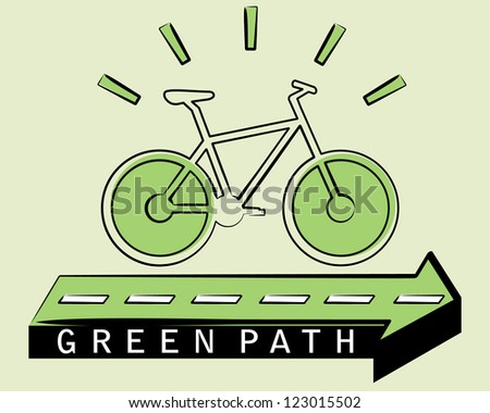 ecological bicycle driving on the green arrow, green path concept