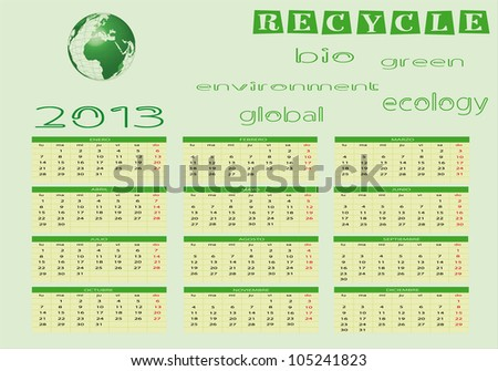 Ecological Calendar 2013 in spanish