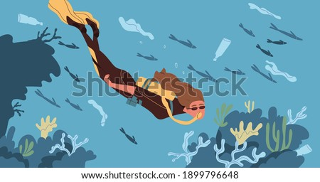 Ecological catastrophe and water contamination concept. Female scuba diver floating in dirty sea or ocean contaminated with plastic garbage. Endangered underwater ecosystem. Flat vector illustration