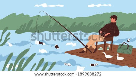 Ecological catastrophe and water contamination concept. Fisherman catching fish at dirty river contaminated with plastic garbage. Polluted environment. Colorful flat vector illustration
