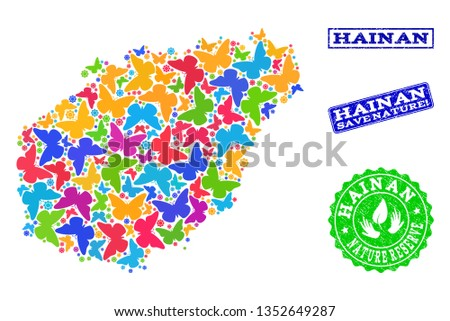 Ecological composition of bright mosaic map of Hainan Island and unclean seal stamps with Save Nature text. Mosaic map of Hainan Island constructed with bright colored butterflies.