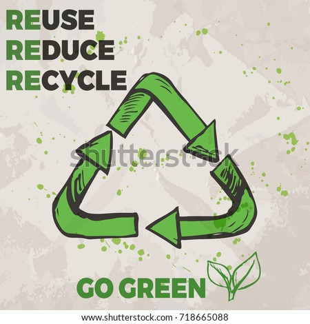 Ecological concept poster with hand drawn recycle sign and text