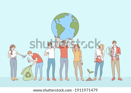Ecological conversation, save planet concept. Young people volunteers cartoon characters collecting garbage taking care of plants and saving ecology on planet earth vector illustration