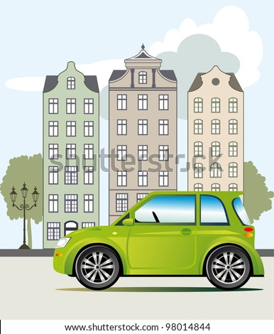 Ecological friendly green car parked on the street, vector illustration
