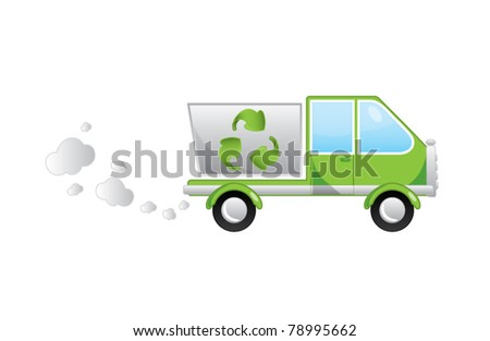 Ecological green cartoon garbage truck vector illustration