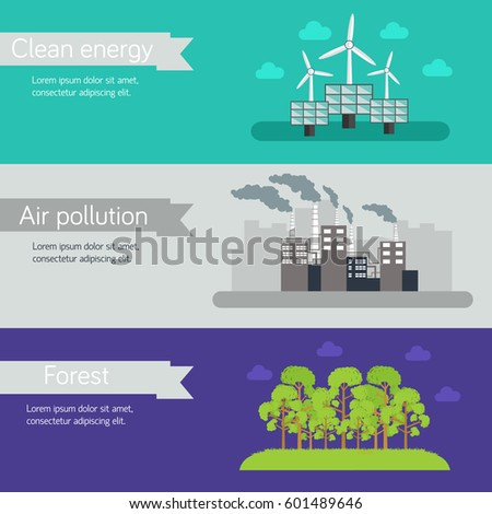 ecological horizontal banners vector illustration concept. Template for website