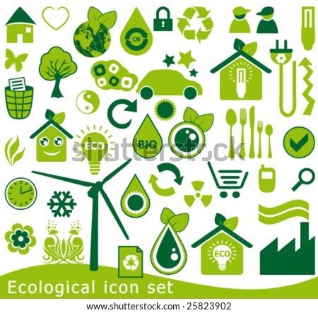 Ecological icon set. 42 green vector symbols for the environmental protection.