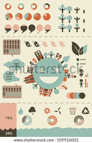 ecological infographics and charts in retro colours in vector