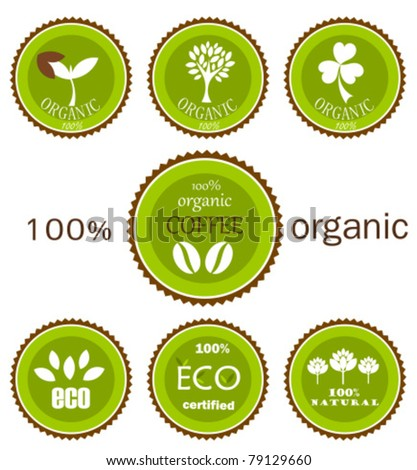 Ecological organic various  icons, labels or logo in green and brown colors for food products. Vector design