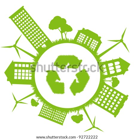 Ecological planet vector background with wind generators