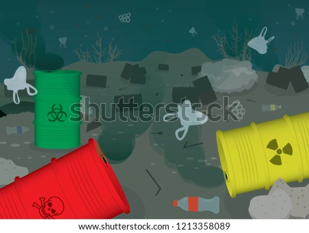 Ecological problems environmental ocean water pollution toxic water isolated ストックフォト ©