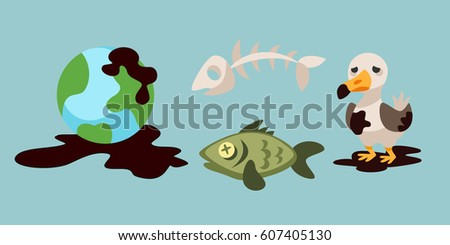 Ecological problems environmental oil pollution of water earth air deforestation destruction of animals mills factories forest protection vector illustration. stock photo