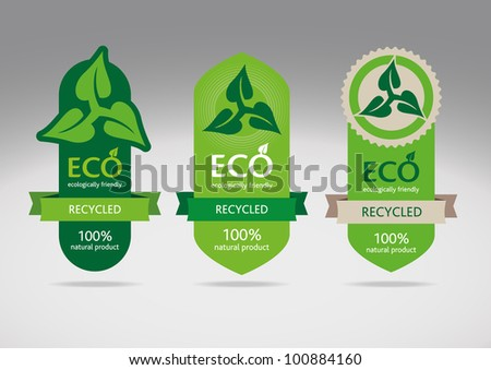 Ecological recycle labels - logo vector icons