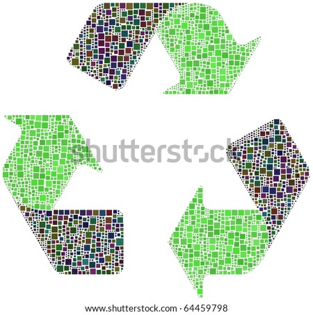 Ecological Sign. Recycle every colors to get Green