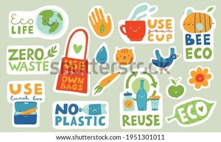 Ecological stickers. Collection of ecology stickers with slogans - eco life, zero waste, use lunch box, use your own bag, use your cup, bee eco, reuse. Bundle of bright vector design elements. Bird.