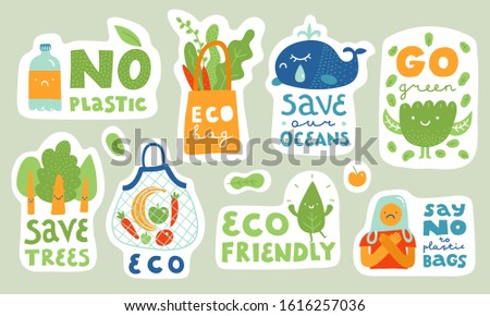 Ecological stickers. Collection of ecology stickers with slogans - no plastic, eco bag, save our oceans, save trees, eco friendly, say no to plastic bags. Bundle of bright vector design elements.