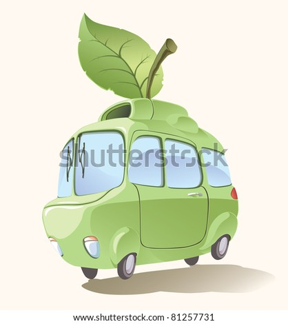 Ecologically clean and environmentally friendly retro-styled imaginary small car.. Editable vector EPS v9.0 - stock vector