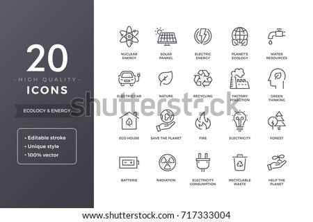 Ecology and energy line icons.  Eco green power thin icon set with editable stroke