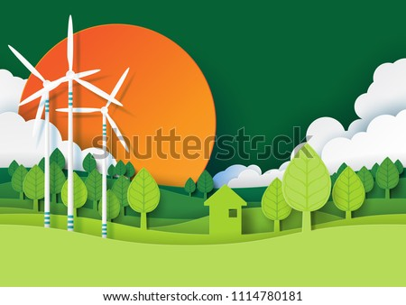 Ecology and environment conservation creative idea concept design.Eco green energy and nature landscape background paper art style.Vector illustration.