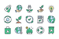 Ecology and Environment related color line icon set. Nature and Renewable Energy colorful linear icons. Eco friendly and Eco line icons flat color outline vector sign collection.