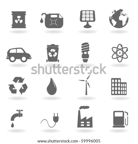 Ecology and environment related icon set