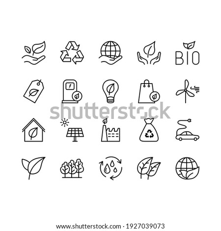 Ecology and Environment related line icon set. Nature and Renewable Energy simple symbol. Contains such as Environment, Eco, Alternative Power, Recycle, Water Drop and more. Editable stroke.