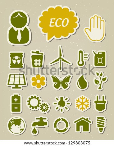 Ecology and environmental icons set