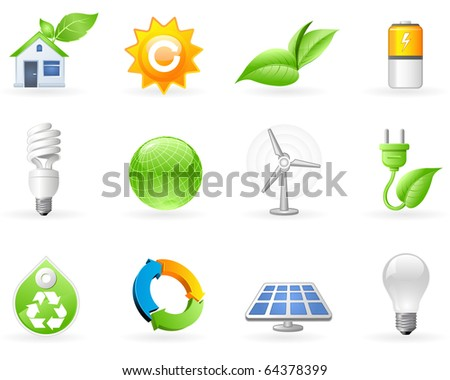 Ecology and Green Energy icon set - stock vector