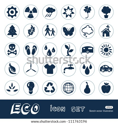 Ecology and nature web icons set. Hand drawn sketch illustration isolated on white background