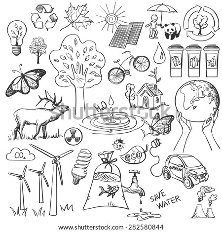 ecology and recycle doodle