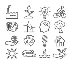 Ecology and Recycling line icons on white background