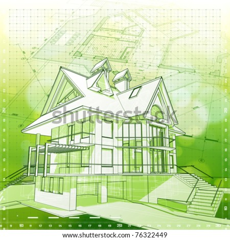 Ecology architecture design: house, plans & green bokeh background - vector illustration. Eps 10