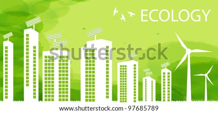 Ecology city and elements background vector concept- solar and wind alternative energy