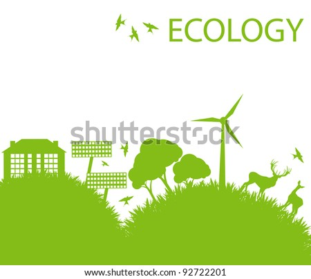 Ecology city and elements background vector concept- wind alternative energy