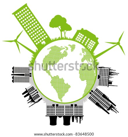 Ecology city and elements background vector concept- wind alternative energy against industrial pollution