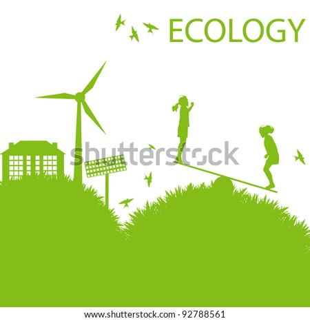 Ecology city and elements background vector concept- wind alternative energy and girls playing in grass