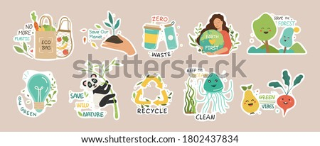 Ecology colorful stickers collection. Trendy slogans to save the planet. Eco friendly tools, zero waste concept, environmental protection, save wild nature and other. Flat Vector Illustration