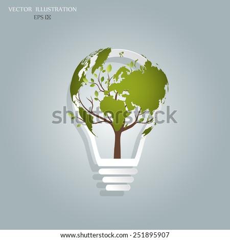 ecology concept  a tree  a map