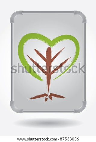 Ecology concept - abstract illustration with leaf and text