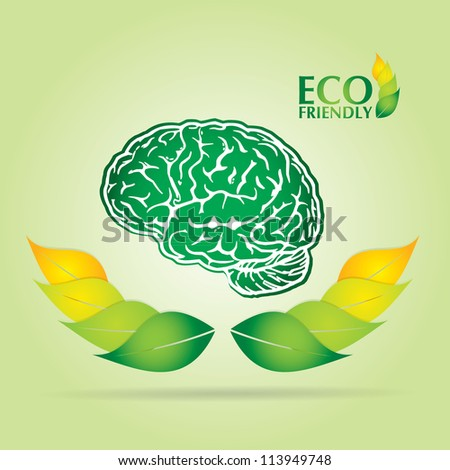 Ecology concept abstract illustration with leaf, brain and text