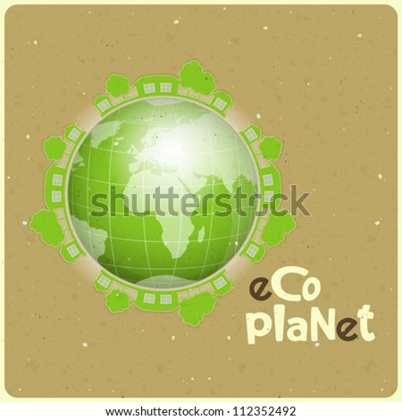 ecology concept eco planet, Green earth on paper background - vector illustration